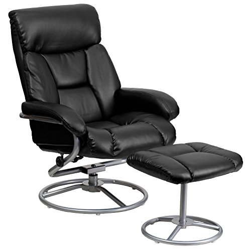 Flash Furniture Contemporary Black Leather Recliner and Ottoman with Metal ()