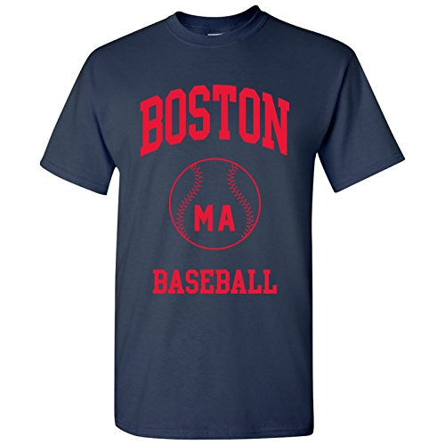Boston Classic Baseball Arch Basic Cotton T-Shirt - Small - Navy