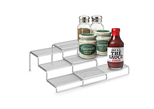 Mesh Spice Rack - Artestia 3-Tier Expandable Steel Wire Spice Rack and Cabinet Step Shelf Organizer, Silver
