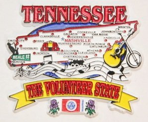 Tennessee State Elements Map Fridge Collectible Souvenir Magnet ()