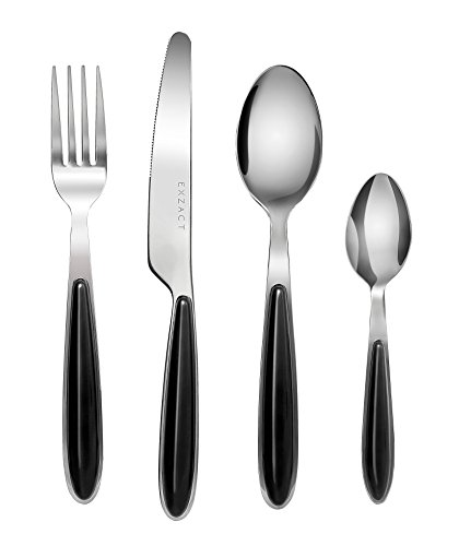 Exzact EX07 - 24 pcs Flatware Cutlery Set - Stainless Steel With Color Handles - 6 Forks, 6 Dinner Knives, 6 Dinner Spoons, 6 Teaspoons ( Black x 24) Black Dinner Fork
