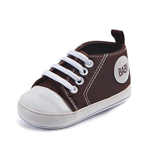 Antheron Infant Canvas Shoes - Baby Boys Girls Anti-Slip First Walker Toddler Sneaker Newborn Crib Shoes (Coffee,6-9Month
