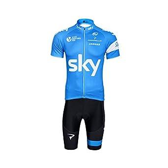 Riding Club Men s Outdoor Sports Pro Team Short Sleeve Sky Cycling Jersey  Bib Shorts Blue Breathable Cycling Clothing Set  Amazon.co.uk  Clothing b9646e576