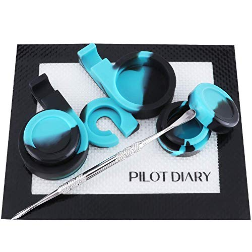 Pilot Diary Wax Carving Kit Silicone Jar Containers 5ml (2) + Silicone Jar Stand(1) + Stainless Steel Wax Carving Tool (1) + Nonstick Wax Mat 5.5 x 4.5(1) - Dark&Blue