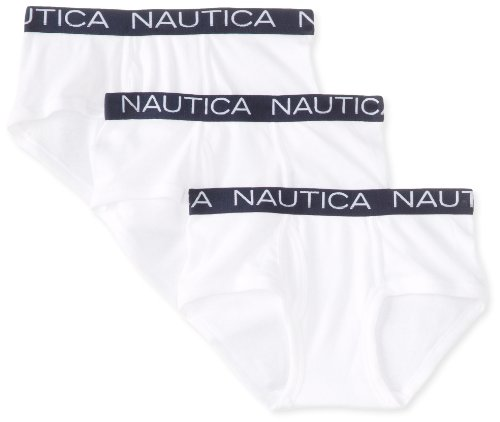 Nautica Little Boys' 3 Pack Solid Classic Brief, White,XS