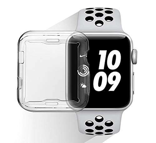 for Apple Watch Screen Protector 42mm for Series 3/Series 2, Smart Watch Protective Cover, Iwatch Screen Protectors Case, Soft TPU HD Crystal Clear, One All-Around Cover, One Protective Bumper 2 Pack