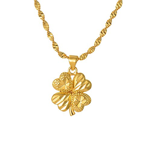 (CULOVITY Gold Filled Clover Pendant Necklaces - Eternal Happiness Necklace Twisted Singapore Chain for Women Girls Gift)