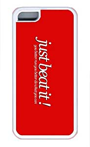 iPhone 5C Case, iPhone 5C Cases - Ultra Slim Fit Soft White Case Cover for iPhone 5C Michael Jackson Just Beat It Shock-Absorption Rubber Case Bumper for iPhone 5C