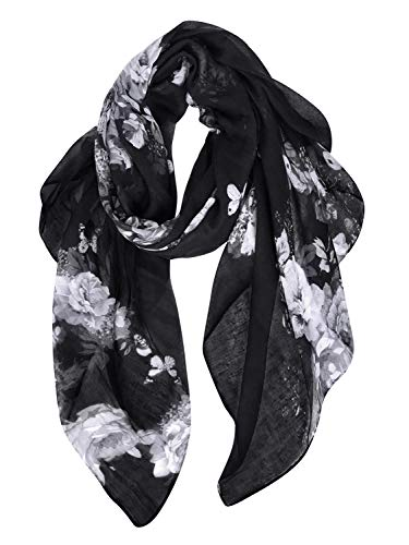 GERINLY Lightweight Shawl Scarf Peony Print Beach Wrap For Hawaiian Vacation ()