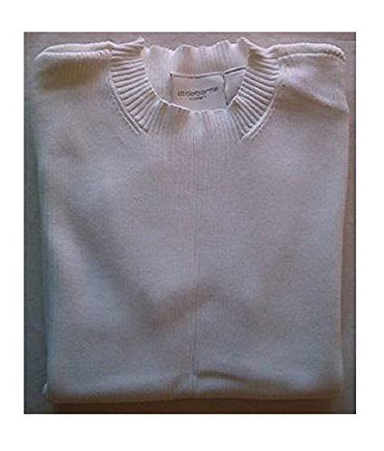 Liz Claiborne Short Sleeve Ribbed Mockneck Cotton Sweater, White, Medium