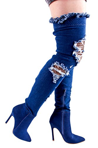 LOLLI COUTURE DENIM POINT TOE CUTOUT FISH NET DESIGN SIDE ZIPPER OVER THE KNEE STILETTO HIGH HEELS BOOTS SHOES 6 (Point Toe Boot)