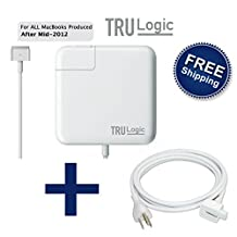 TRU Logic MacBook Pro / Air Power Supply MagSafe 2 T Style Charger Adapter 45W 60W 85W All MacBook Pro Air Charger Models 11 , 13 , 15 , 17 inch after 2012 2013 2014 2015 FREE 6 ft Extension Cable