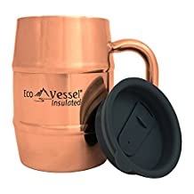 Eco Vessel Double Barrel Double Wall Insulated Stainless Steel Beer/Coffee Mug with Lid, 17 Ounce/500 Ml-Copper