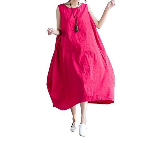 Elegante Abiti Rosso Abito Spiaggia 3 Colore Rotondo 4 Ampi Donna Ragazza Senza Casual Vestiti Lunghi da Maxi Scollo Maniche Taglie Swing Forti Cerimonia a Hippie Vestito Estivi Vestitini Barca Puro Manica Collo IwC8q1C