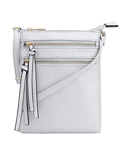 DELUXITY | Crossbody Wristlet Bag | Functional Multi Pocket Double Zipper Purse | Adjustable & Detachable Strap | Medium Size Purse | Silver