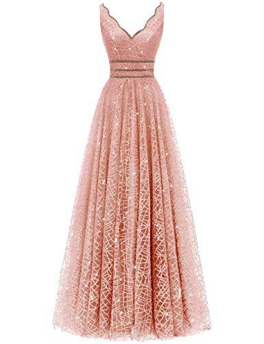 (Women V-Neck Tulle Prom Dresses Crystal Evening Formal Ball Gown(Blush-fl,2))