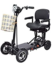 Fold and Travel Lightweight Mobility Scooters for Adults Elderly Seniors Medical 4-Wheel Powered Scooter Wheelchairs Foldable Ultra Lightweight Electric Wheelchair Carrier Power Wheel Chairs Electric Chair Mobility Chair Scooter de mobilité voyage transport