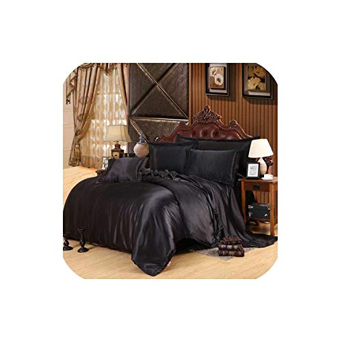 LOVE-JING Silk Bedding Set Home Textile King Size Bed Set Bed Clothes Duvet Cover Flat Sheet Pillowcases,Black,Queen 4Pcs