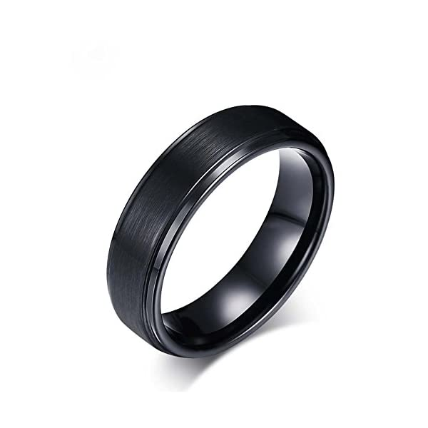 Simplicity Polished All Black Tungsten Steel Men's Ring 8mm Width Size 7-12