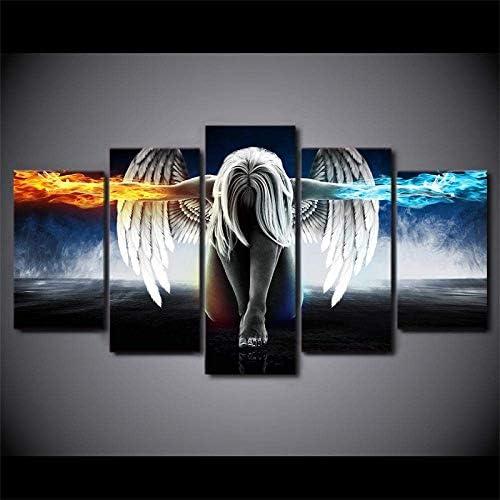 ZWXXQ 天使の少女の翼の火と氷 5つのモジュールのキャンバスの絵画 5つの連続した絵画 現代の装飾的な絵画 家の装飾の壁の装飾- A