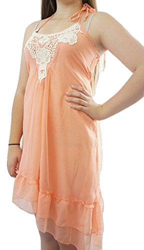 LipsyDamen Kleid, Einfarbig Orange Coral