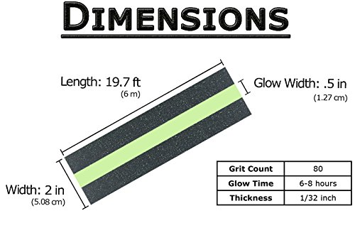 Anti Slip Tape with Glow in The Dark Safety Strip - 1 Roll 19.7 ft x 2 in, 80 Grit Non-Slip High Traction Abrasive, Perfect Grip for Stairs & Steps, Indoor & Outdoor Use, Easy Installation by nDream (Image #2)