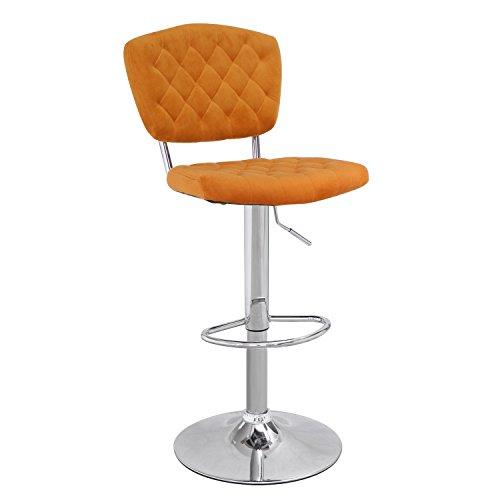 Adeco Modern Shining Euro Style Adjustable Height Swivel bar Courter Stool (Set of 2), Orange
