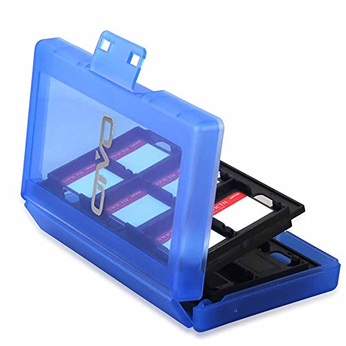 Game Card Case, HelloPower Nintendo Switch Game Card Case travel Carrying Storage Card Box Holder TF Card Case for Nintendo Switch with 24 slots (Blue) by HelloPower