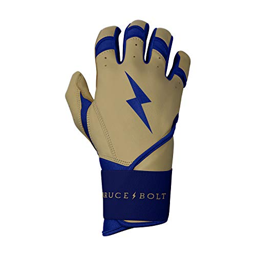 BRUCE+BOLT Adult Premium Pro Natural Series 100% Cabretta Leather Long Cuff Batting Gloves - Medium Tan Leather Royal Trim - - Series Glove Tpx Pro