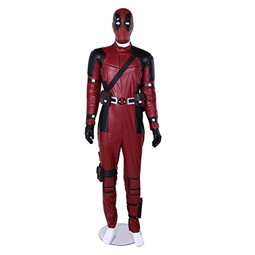 Mens DP Movie Cosplay Pool Wade Costume Deluxe Full Body Suits Leather Jumpsuit Outfit Halloween Costumes Male L