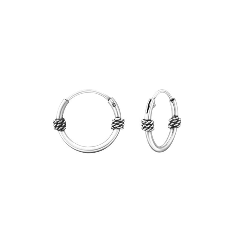 Girls 12Mm Bali Hoops 925 Sterling Silver
