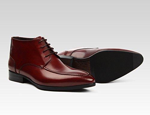 Zapatos Estrecha EU39 UK6 Cortas Clásicos Vino Piel para Style British Cuero Martin de de Tamaño Rojo Color Hombre Punta Botas Hombres Leisure con para Zapatos Negro CXBTqwB