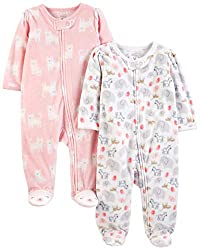 Full-zip closures promise easier outfit changes in these footed sleep-and-play suits featuring whimsical designs.