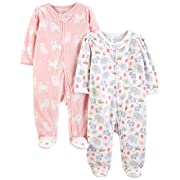 Simple Joys by Carter's Girls' 2-Pack Fleece Footed Sleep and Play, White Animals Green/Pink Kitty, 0-3 Months