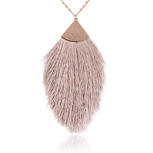 RIAH FASHION Antique Bohemian Silky Thread Fan Tassel Statement Necklace - Vintage Gold Feather Shape Strand Fringe Lightweight Long Chain (Feather Fringe - Light Brown)