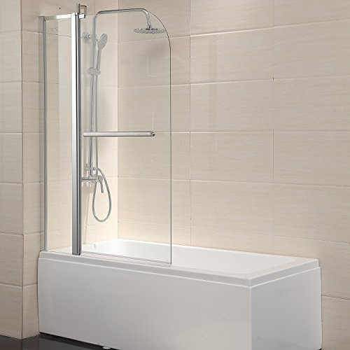 "Mecor Bathtub Shower Door Hinged Frameless 1/4"" Clear Glass Tub Door with Handle Chrome Finish (55""X39"")"