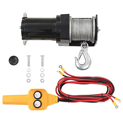 Business & Industrial Material Handling Lifts & Hoists Winches 12 V Electric Winch 2000 lb Wire Remote Control from romelarus