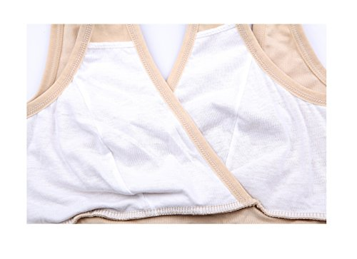 without bra nursing kairuigeli breast cross Nude underwear style Maternity rimless pad vest x8qOw0
