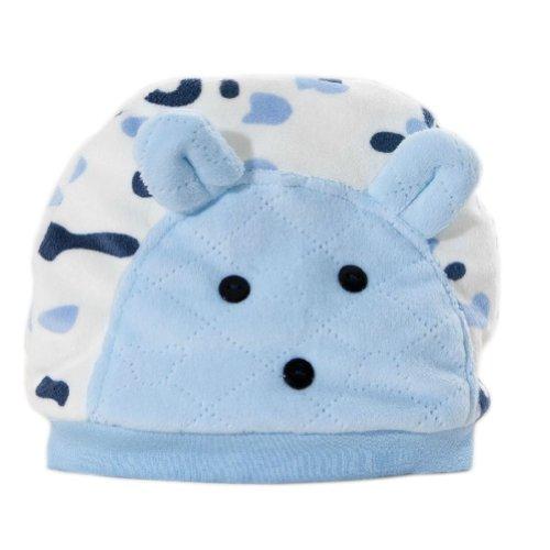 Simple Newborn baby boy&girl Thicken Cotton Cute Cow Hat Blue 0~4 months