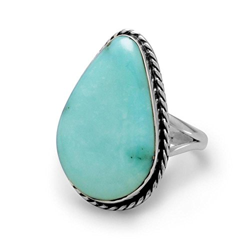 (Large Stabilized Turquoise Ring Freeform Shape Antiqued Sterling Silver, 9)