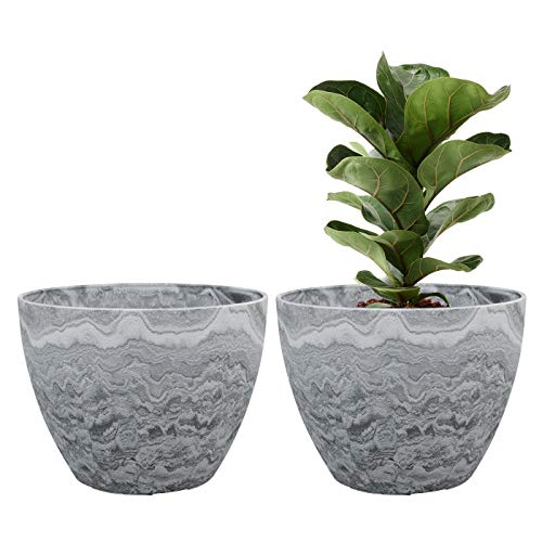 Flower Pot Large Garden Planters 11.3 Inches Pack 2 Outdoor Indoor, Resin Plant Containers with Drain Hole (Marble) (Fiberglass Pots Flower)