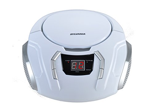 Sylvania SRCD261-C-WHITE Portable CD Boombox with AM/FM Radio
