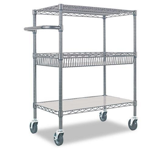 Alera SW543018BA Three-Tier Wire Rolling Cart, 34w x 18d x 40h, Black Anthracite by Alera
