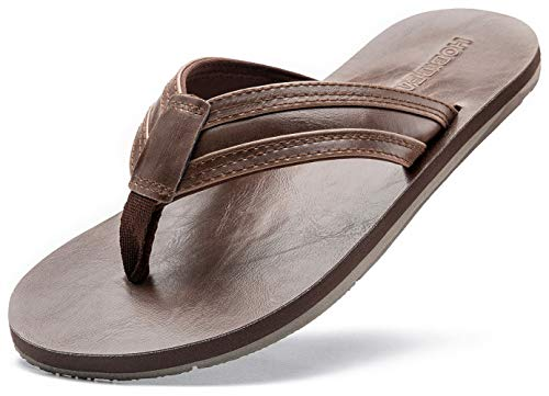 - GUBARUN Mens Flip Flop Sandals Thong Indoor and Outdoor Beach Slippers(Brown 9.5)