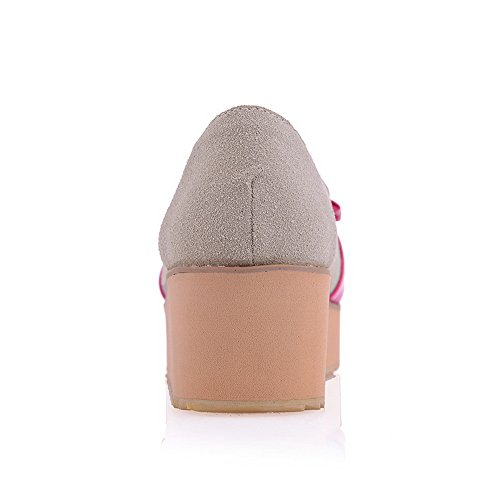 Toes Peach VogueZone009 Suede Heel Open Bowknot Pumps Peep Womens Mid with Colors Imitated and Assorted qqCZxTwt6r