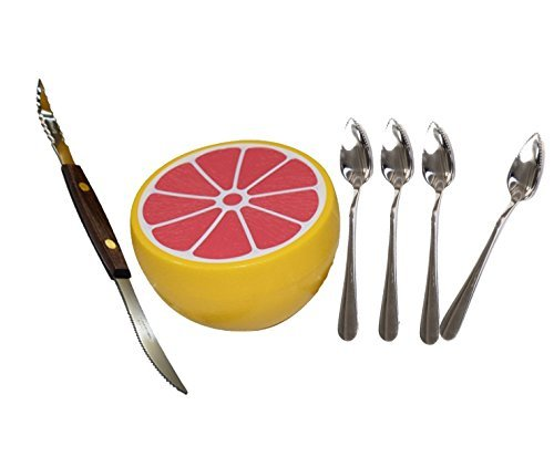 Squirtfree Serrated Twin-Blade Grapefruit Knife, Grapefruit spoons (2) stainless Steel, Serrated Edges and grapefruit saver by Budays Mart