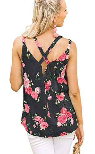 Cute Tops for Women Criss Cross Back Tank Tops Floral Sleeveless Camisoles Black L