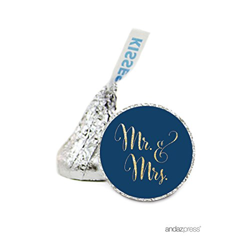 Andaz Press Chocolate Drop Labels Stickers, Wedding, Mr. & Mrs. (Blue Personalized Banner)