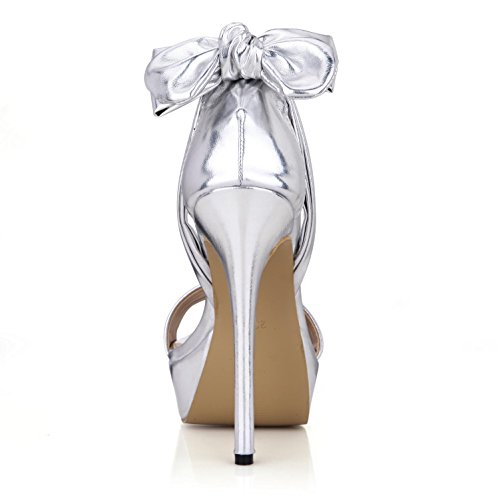Schuhe 3 Gummi Bow 14 Pumps High Schnalle Premium Plattformen 4U Gold Toe Sommer Beste Heels Sohle Peep Sandalen Frauen PU Silber Leder Basic One CM CM gqzwf