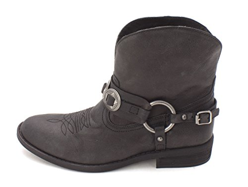 s Afton Leather Round Toe Ankle Cowboy, Black, Size 6.5 (Afton Leather)